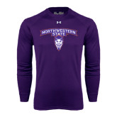 Under Armour Purple Long Sleeve Tech Tee-Arched Northwestern State w/Demon Head