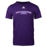 Adidas Purple Logo T Shirt-Arched Northwestern State