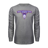 Grey Long Sleeve T Shirt-Arched Northwestern State w/Demon Head