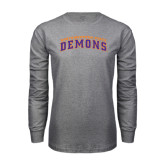 Grey Long Sleeve T Shirt-Arched Northwestern State Demons