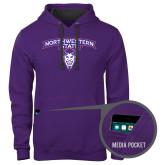 Contemporary Sofspun Purple Hoodie-Arched Northwestern State w/Demon Head