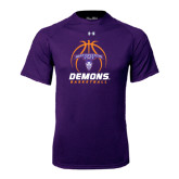 Under Armour Purple Tech Tee-Demons Basketball Stacked