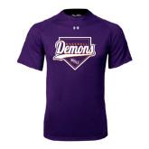 Under Armour Purple Tech Tee-Demons Baseball Plate Script
