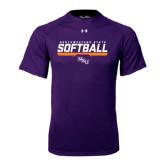 Under Armour Purple Tech Tee-Softball Stencil w/ Bar