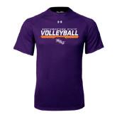 Under Armour Purple Tech Tee-Volleyball Stencil w/ Bar