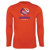 Performance Orange Longsleeve Shirt-Tennis Abstract Ball