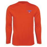 Performance Orange Longsleeve Shirt-Arched Northwestern State w/Demon Head