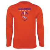 Performance Orange Longsleeve Shirt-Demons Football Vertical