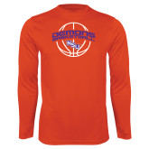 Performance Orange Longsleeve Shirt-Demons Basketball Arched