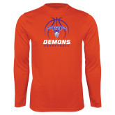 Performance Orange Longsleeve Shirt-Demons Basketball Stacked