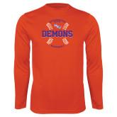 Performance Orange Longsleeve Shirt-Demons Baseball Seams