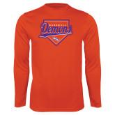 Performance Orange Longsleeve Shirt-Demons Baseball Plate Script