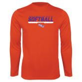 Performance Orange Longsleeve Shirt-Softball Stencil w/ Bar
