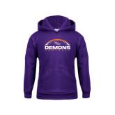 Youth Purple Fleece Hoodie-Demons Football Horizontal