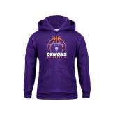 Youth Purple Fleece Hoodie-Demons Basketball Stacked