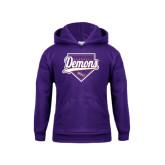 Youth Purple Fleece Hoodie-Demons Baseball Plate Script