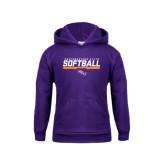 Youth Purple Fleece Hoodie-Softball Stencil w/ Bar