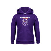 Youth Purple Fleece Hoodie-Demons Volleyball Stacked