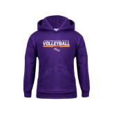 Youth Purple Fleece Hoodie-Volleyball Stencil w/ Bar