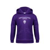 Youth Purple Fleece Hoodie-Arched Northwestern State w/Demon Head