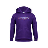 Youth Purple Fleece Hoodie-Arched Northwestern State
