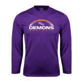 Performance Purple Longsleeve Shirt-Demons Football Horizontal
