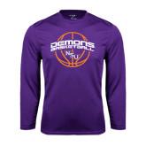 Performance Purple Longsleeve Shirt-Demons Basketball Arched