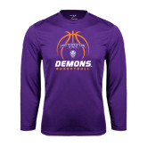 Performance Purple Longsleeve Shirt-Demons Basketball Stacked