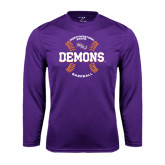 Performance Purple Longsleeve Shirt-Demons Baseball Seams