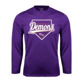 Performance Purple Longsleeve Shirt-Demons Baseball Plate Script