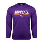 Performance Purple Longsleeve Shirt-Softball Stencil w/ Bar