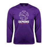 Performance Purple Longsleeve Shirt-Demons Soccer Geometric