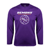 Performance Purple Longsleeve Shirt-Demons Volleyball Stacked
