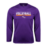 Performance Purple Longsleeve Shirt-Volleyball Stencil w/ Bar