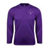 Performance Purple Longsleeve Shirt-Arched Northwestern State w/Demon Head