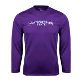 Performance Purple Longsleeve Shirt-Arched Northwestern State
