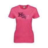 Ladies Fuchsia T Shirt-NSU Foil