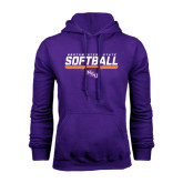 Purple Fleece Hoodie-Softball Stencil w/ Bar