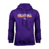 Purple Fleece Hoodie-Volleyball Stencil w/ Bar