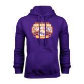 Purple Fleece Hoodie-Womens Basketball Back To Back Champions