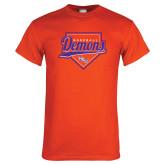 Orange T Shirt-Demons Baseball Plate Script