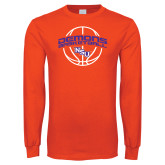 Orange Long Sleeve T Shirt-Demons Basketball Arched