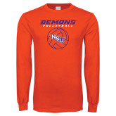 Orange Long Sleeve T Shirt-Demons Volleyball Stacked