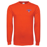 Orange Long Sleeve T Shirt-Arched Northwestern State w/Demon Head
