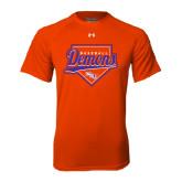 Under Armour Orange Tech Tee-Demons Baseball Plate Script