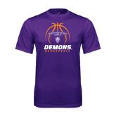 Performance Purple Tee-Demons Basketball Stacked