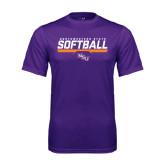 Performance Purple Tee-Softball Stencil w/ Bar