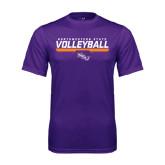 Performance Purple Tee-Volleyball Stencil w/ Bar