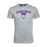 Next Level SoftStyle Heather Grey T Shirt-Arched Northwestern State w/Demon Head