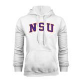 White Fleece Hoodie-Arched NSU